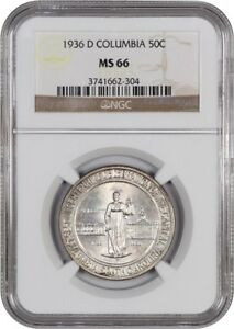 1936 D COLUMBIA 50C NGC MS66   LOW MINTAGE ISSUE   SILVER CLASSIC COMMEMORATIVE