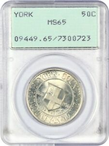 1936 YORK 50C PCGS MS65  OGH RATTLER HOLDER  SILVER CLASSIC COMMEMORATIVE