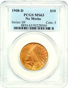 Click now to see the BUY IT NOW Price! 1908 D $10 PCGS MS63  NO MOTTO  INDIAN EAGLE   GOLD COIN