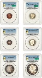 Click now to see the BUY IT NOW Price! 1897 PROOF  SET PCGS/CAC PROOF 65 67   MATCHING HIGH GRADE EARLY PROOF SET