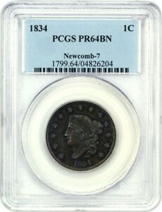 Click now to see the BUY IT NOW Price! 1834 1C PCGS PR 64 BN  NEWCOMB 7      SCACE PROOF ISSUE