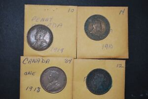 CANADIAN PENNIES 21 FROM 1958 1981 & 4 FROM 1876 TO 1919