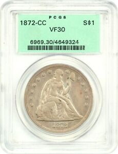 1872 CC $1 PCGS VF30  OGH    LIBERTY SEATED DOLLAR   OLD GREEN LABEL HOLDER