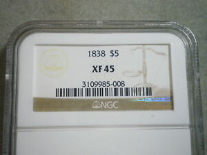 1838 $5 LIBERTY GOLD XF45 NGC  3109985 008 VERY SCRCE