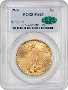 1924 $20 PCGS/CAC MS65   SAINT GAUDENS DOUBLE EAGLE   GOLD COIN