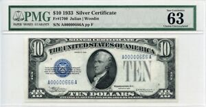 Click now to see the BUY IT NOW Price! FR. 1700 1933 $10 SILVER CERTIFICATE PMG CHOICE UNC 63   GREAT EMBOSSING
