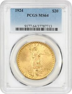 1924 $20 PCGS MS64   SAINT GAUDENS DOUBLE EAGLE   GOLD COIN   GOLD TYPE COIN