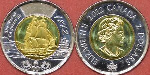 BRILLIANT UNCIRCULATED 2012 CANADA HMS SHANNON 2 DOLLARS FROM MINT'S ROLL