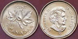 BRILLIANT UNCIRCULATED 2010 CANADA NONMAGNETIC 1 CENT FROM MINT'S ROLL
