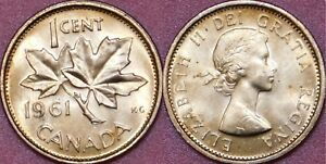 BRILLIANT UNCIRCULATED 1961 CANADA 1 CENT FROM MINT'S ROLL