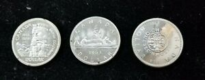 Click now to see the BUY IT NOW Price! LOT OF 3 CANADA SILVER DOLLARS COINS PL 1958 1963 1964 ELIZABETH II I201