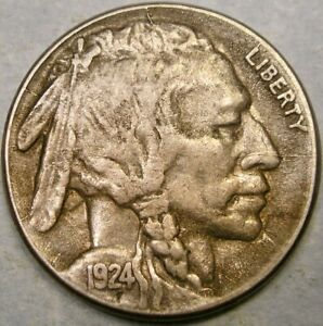 Click now to see the BUY IT NOW Price! 1924 S BUFFALO INDIAN HEAD NICKEL BOLD FULL HORNVERY  SHATTERED DIE OBVERSE
