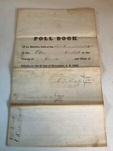 Click now to see the BUY IT NOW Price! 1869 OLD PAPER POLL BOOK SCHOOL HOUSE DISTRICT BOND COUNTY. 200  SIGNATURES