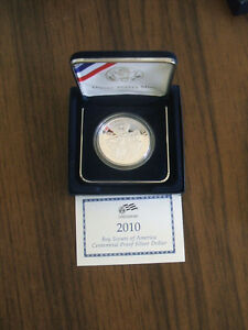 UNCIRCULATED PROOF 90  SILVER DOLLAR BOY SCOUTS COMMEMORATIVE 2010 BOX COA