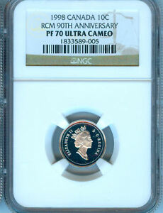 Click now to see the BUY IT NOW Price! 1998 CANADA TEN CENTS NGC PF 70 UC  RCM 90TH ANNIVERSARY     NEW LOW PRICE