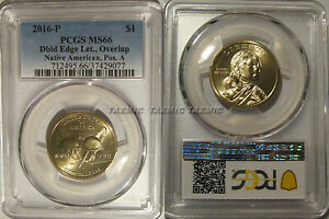 Click now to see the BUY IT NOW Price! 2016 P NATIVE SACAGAWEA DOLLAR $1 DOUBLED EDGE LETTERING OVERLAP PCGS MS66 POS A