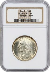 1938 BOONE 50C NGC MS64  OH  LOW MINTAGE ISSUE OLD NGC HOLDER