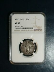 1917 TYPE 1 STANDING LIBERTY QUARTER NGC VF35 SILVER 25C COIN PRICED TO SELL