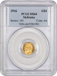 1916 MCKINLEY G$1 PCGS MS64   CLASSIC COMMEMORATIVE   GOLD COIN