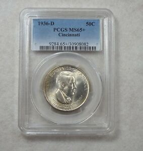 1936 D CINCINNATI MUSIC CENTER COMMEMORATIVE SILVER HALF DOLLAR PCGS MS 65