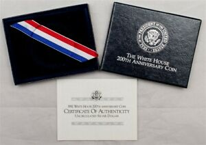 OGP FOR 1992 D WHITE HOUSE 200TH ANNIV COMMEMORATIVE UNCIRCULATED SILVER $1