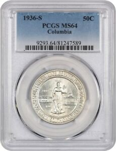 1936 S COLUMBIA 50C PCGS MS64   LOW MINTAGE ISSUE   SILVER CLASSIC COMMEMORATIVE