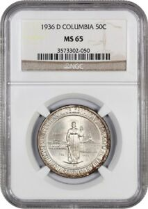 1936 D COLUMBIA 50C NGC MS65   LOW MINTAGE ISSUE   SILVER CLASSIC COMMEMORATIVE