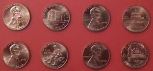 BRILLIANT UNCIRCULATED 2009 4P & 4D US LINCOLN 1 CENTS FROM MINT'S ROLLS