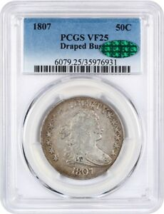 1807 50C PCGS/CAC VF25  DRAPED BUST  GREAT EARLY TYPE COIN   BUST HALF DOLLAR