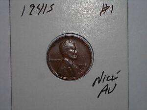 WHEAT PENNY 1941S LINCOLN CENT AU 1941 S CH UNC BROWN LUSTER LOT 1