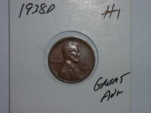 WHEAT PENNY 1938D NICE AU  1938 D LINCOLN CENT LOT 1 CH UNC BROWN LUSTER