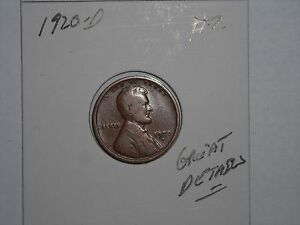 WHEAT PENNY 1920D GREAT HIGH GRADE 1920 D LINCOLN CENT LOT  2 FREE S/H