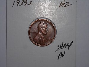 WHEAT PENNY 1939S NICE HIGH GRADE AU LINCOLN CENT 1939 S CH UNC DETAILS LOT 2