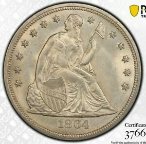 Click now to see the BUY IT NOW Price! 1864 $1 LIBERTY SEATED DOLLAR PCGS MS64