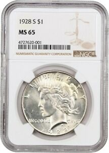 Click now to see the BUY IT NOW Price! 1928 S $1 NGC MS65   BETTER DATE S MINT PEACE DOLLAR   PEACE SILVER DOLLAR