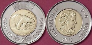 BRILLIANT UNCIRCULATED 2013 CANADA 2 DOLLARS FROM MINT'S ROLL