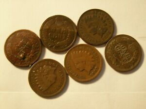 NICE LOT OF 6 VINTAGE  INDIAN CENTS.