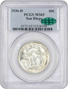 1936 D SAN DIEGO 50C PCGS/CAC MS65   SILVER CLASSIC COMMEMORATIVE