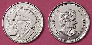 BRILLIANT UNCIRCULATED 2005P CANADA VETERAN 25 CENTS FROM MINT'S ROLL