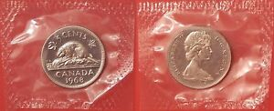PROOF LIKE 1968 CANADA 5 CENTS SEALED IN CELLO