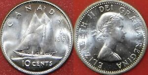 BRILLIANT UNCIRCULATED 1961 CANADA SILVER 10 CENTS FROM MINT'S ROLL
