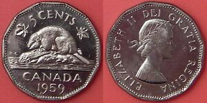 BRILLIANT UNCIRCULATED 1959 CANADA 5 CENTS FROM MINT'S ROLL