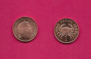 GUERNSEY BRITISH DEPENDENCY  1 PENNY 1998 UNC EDIBLE CRAB QUEEN ELIZABETH II CRO