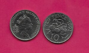GUERNSEY 10 PENCE 1992 UNC TOMATO PLANT QUEEN ELIZABETH II CROWNED HEAD RIGHT SM