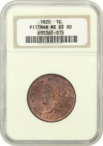 1820 1C NGC MS65 RD  LARGE DATE  EX: PITTMAN   PRETTY LARGE CENT   LARGE CENT