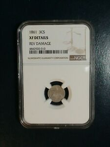 1861 THREE CENT SILVER NGC XF 3CS COIN PRICED TO SELL NOW
