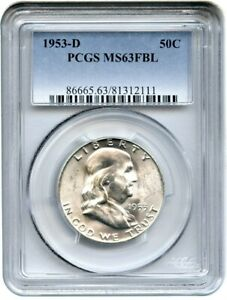 1953 D 50C PCGS MS63 FBL   FRANKLIN HALF DOLLAR