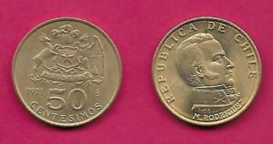 CHILE 50 CENTESIMOS 1971 UNC BUST OF MANUEL RODRIGUEZ RIGHT ARMS ABOVE DENOMINAT