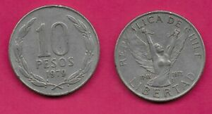 CHILE 10 PESOS 1979 VF 3RD ANNIVERSARY OF NEW GOVERNMENT WINGED FIGURE WITH ARMS