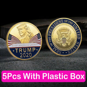 5X DONALD TRUMP 2020 KEEP AMERICA GREAT COMMEMORATIVE CHALLENGE EAGLE COINS YC